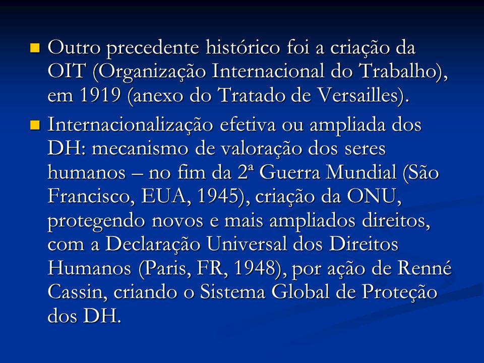 Outro precedente histórico foi a criação da OIT (Organização Internacional do Trabalho), em 1919 (anexo do Tratado de Versailles).
