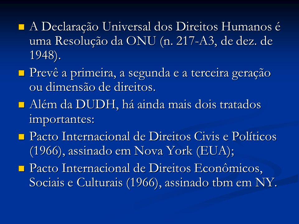 A Declaração Universal dos Direitos Humanos é uma Resolução da ONU (n.