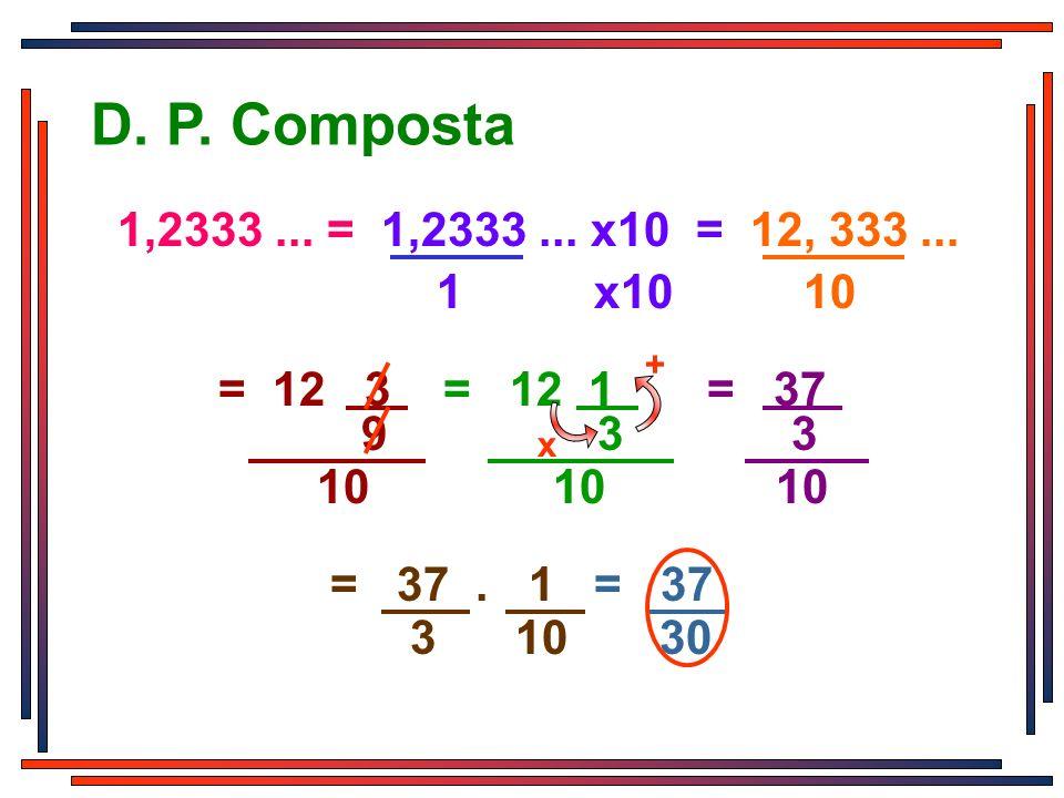 3 9 3 10 10 10 = 12 3 = 12 1 = 37 D. P. Composta 1 x10 10 1,2333... = 1,2333... x10 = 12, 333... 3 10 30 = 37. 1 = 37 + x