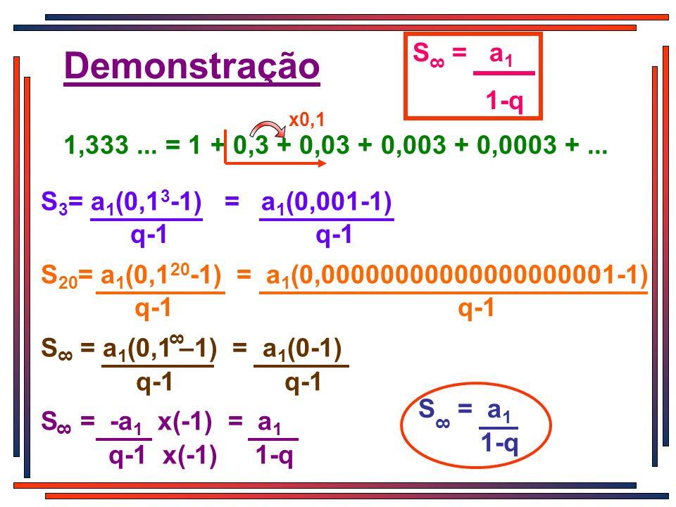 Demonstração S = a 1 1-q 8 1,333... = 1 + 0,3 + 0,03 + 0,003 + 0,0003 +... x0,1 S 3 = a 1 (0,1 3 -1) = a 1 (0,001-1) q-1 q-1 S 20 = a 1 (0,1 20 -1) =