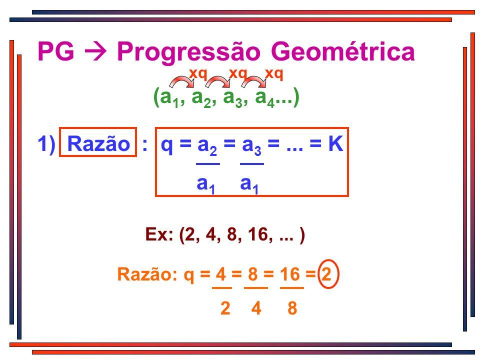 xq (a 1, a 2, a 3, a 4...) xq PG Progressão Geométrica xq 1) Razão : q = a 2 = a 3 =... = K a 1 a 1 Ex: (2, 4, 8, 16,... ) Razão: q = 4 = 8 = 16 = 2 2