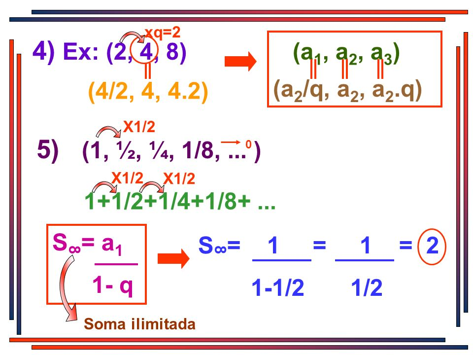 X1/2 4) Ex: (2, 4, 8) xq=2 (4/2, 4, 4.2) (a 1, a 2, a 3 ) (a 2 /q, a 2, a 2.q) 5) (1, ½, ¼, 1/8,... ) X1/2 0 1+1/2+1/4+1/8+... X1/2 S = a 1 1- q 8 S =