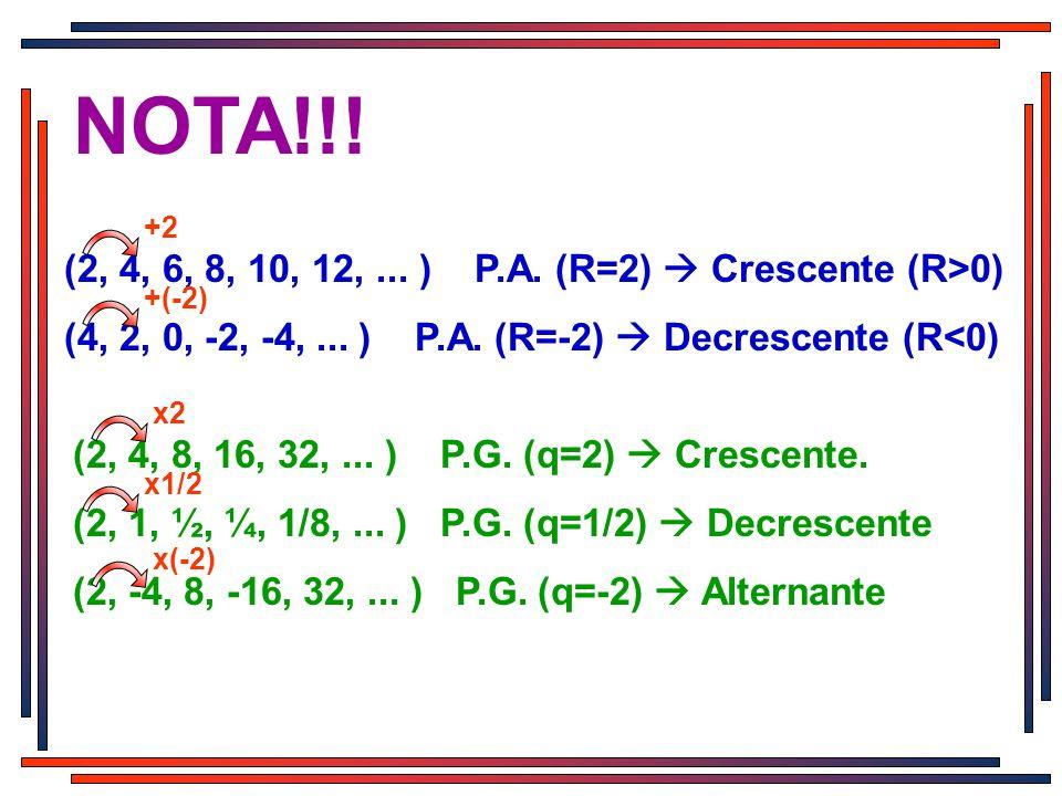 (2, 4, 6, 8, 10, 12,... ) P.A. (R=2) Crescente (R>0) (4, 2, 0, -2, -4,... ) P.A. (R=-2) Decrescente (R<0) NOTA!!! (2, 4, 8, 16, 32,... ) P.G. (q=2) Cr