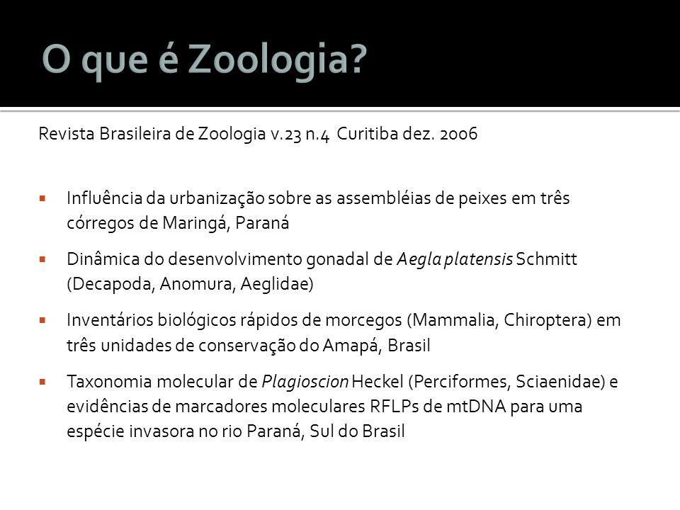 Revista Brasileira de Zoologia v.23 n.4 Curitiba dez. 2006 Influência da urbanização sobre as assembléias de peixes em três córregos de Maringá, Paran