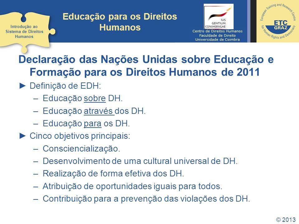 Educação para os Direitos Humanos Declaração das Nações Unidas sobre Educação e Formação para os Direitos Humanos de 2011 Definição de EDH: –Educação