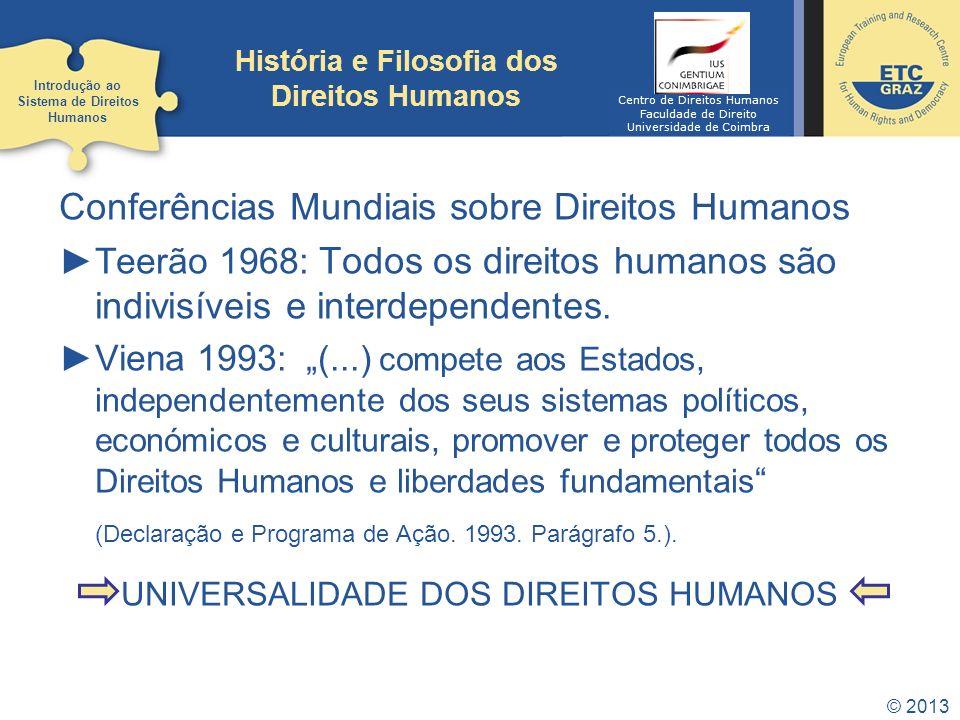 © 2013 Conferências Mundiais sobre Direitos Humanos Teerão 1968: Todos os direitos humanos são indivisíveis e interdependentes. Viena 1993 : (...) com