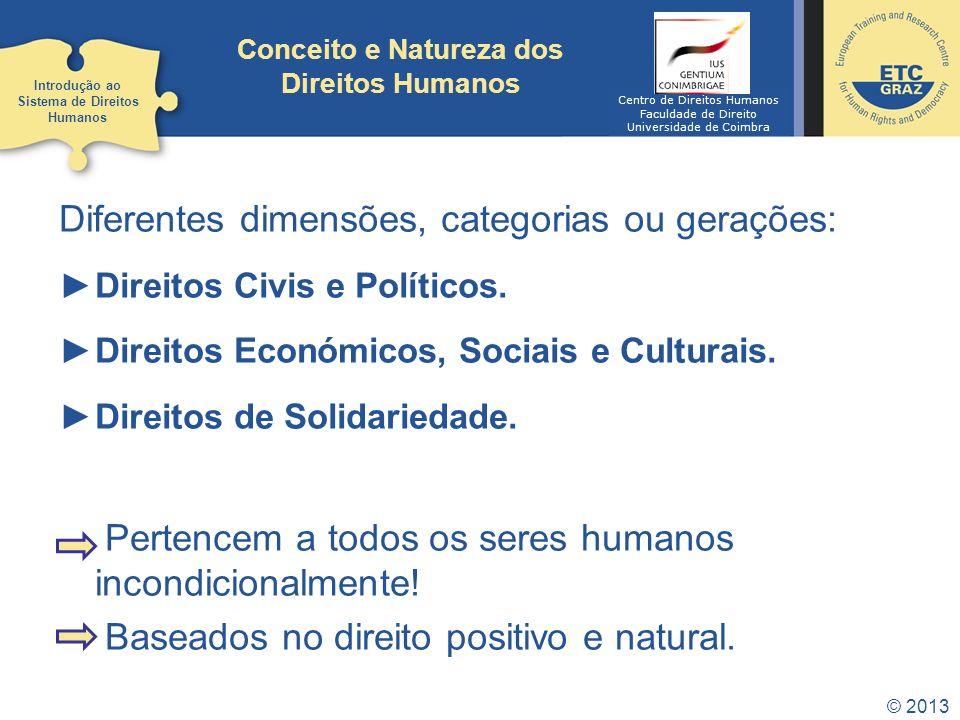 © 2013 Conceito e Natureza dos Direitos Humanos Diferentes dimensões, categorias ou gerações: Direitos Civis e Políticos. Direitos Económicos, Sociais