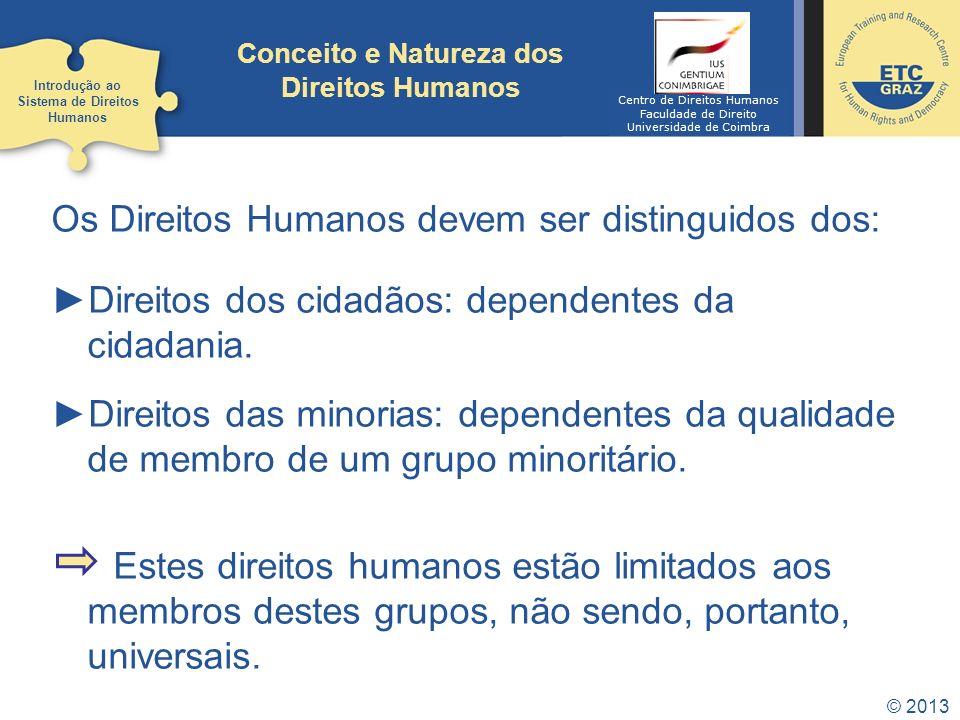 © 2013 Conceito e Natureza dos Direitos Humanos Os Direitos Humanos devem ser distinguidos dos: Direitos dos cidadãos: dependentes da cidadania. Direi