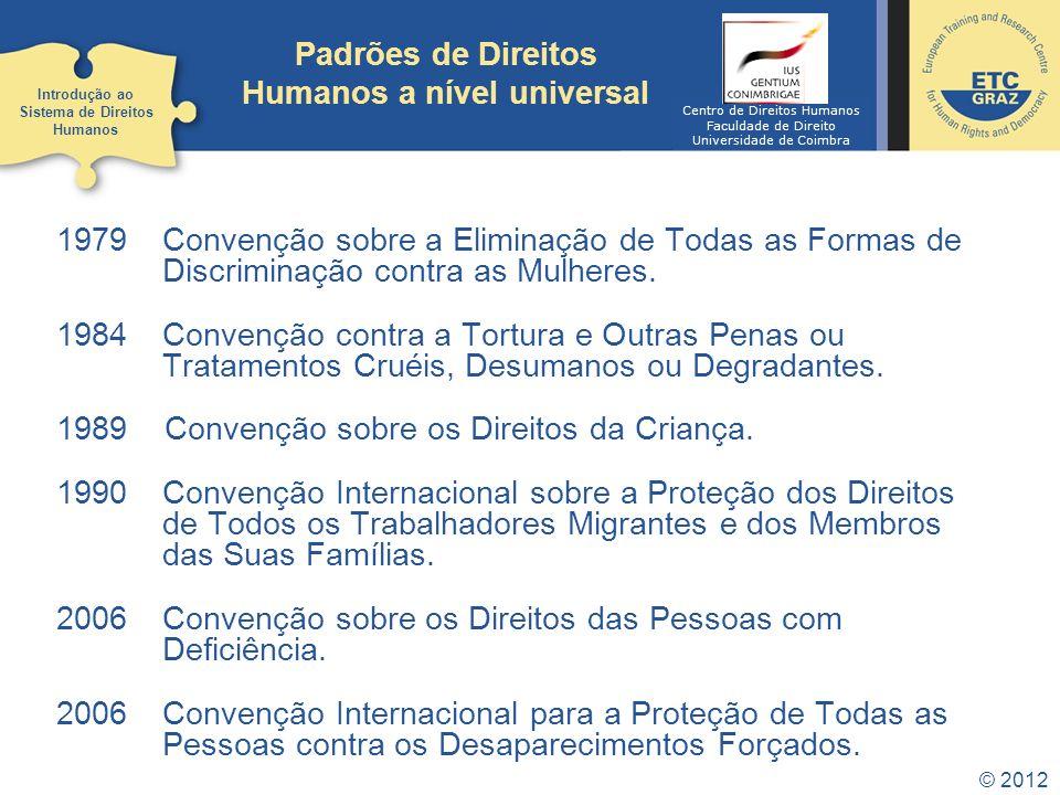 Padrões de Direitos Humanos a nível universal © 2012 1979 Convenção sobre a Eliminação de Todas as Formas de Discriminação contra as Mulheres. 1984 Co
