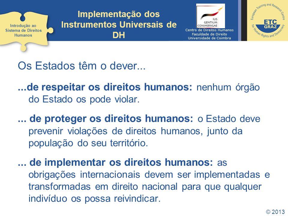 © 2013 Implementação dos Instrumentos Universais de DH Os Estados têm o dever......de respeitar os direitos humanos: nenhum órgão do Estado os pode vi