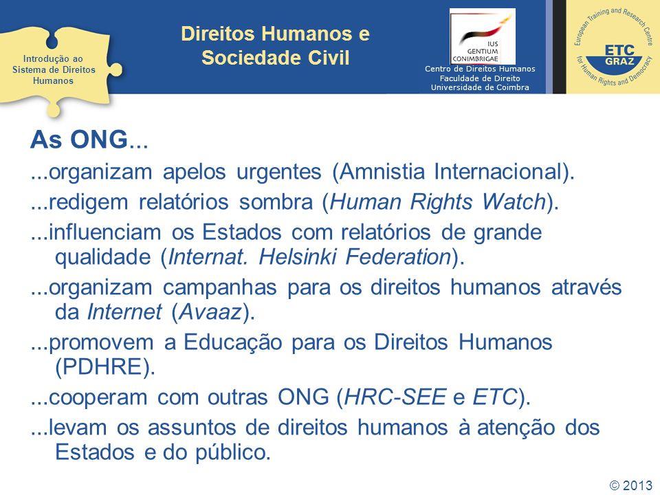 © 2013 Direitos Humanos e Sociedade Civil As ONG......organizam apelos urgentes (Amnistia Internacional)....redigem relatórios sombra (Human Rights Wa