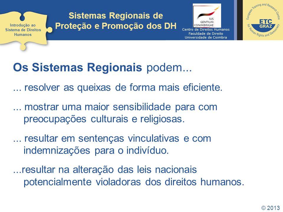 © 2013 Sistemas Regionais de Proteção e Promoção dos DH Os Sistemas Regionais podem...... resolver as queixas de forma mais eficiente.... mostrar uma