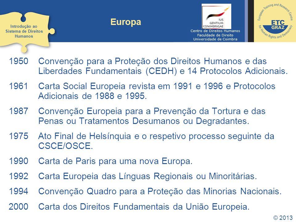 © 2013 Europa 1950Convenção para a Proteção dos Direitos Humanos e das Liberdades Fundamentais (CEDH) e 14 Protocolos Adicionais. 1961Carta Social Eur