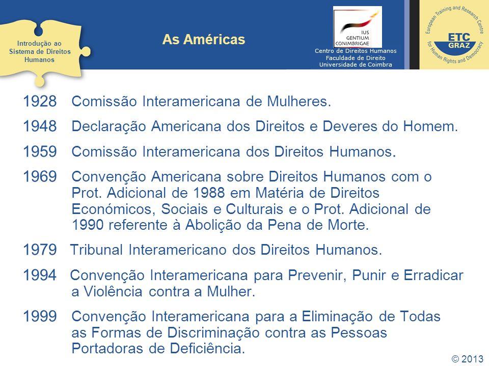 © 2013 As Américas 1928 Comissão Interamericana de Mulheres. 1948 Declaração Americana dos Direitos e Deveres do Homem. 1959 Comissão Interamericana d