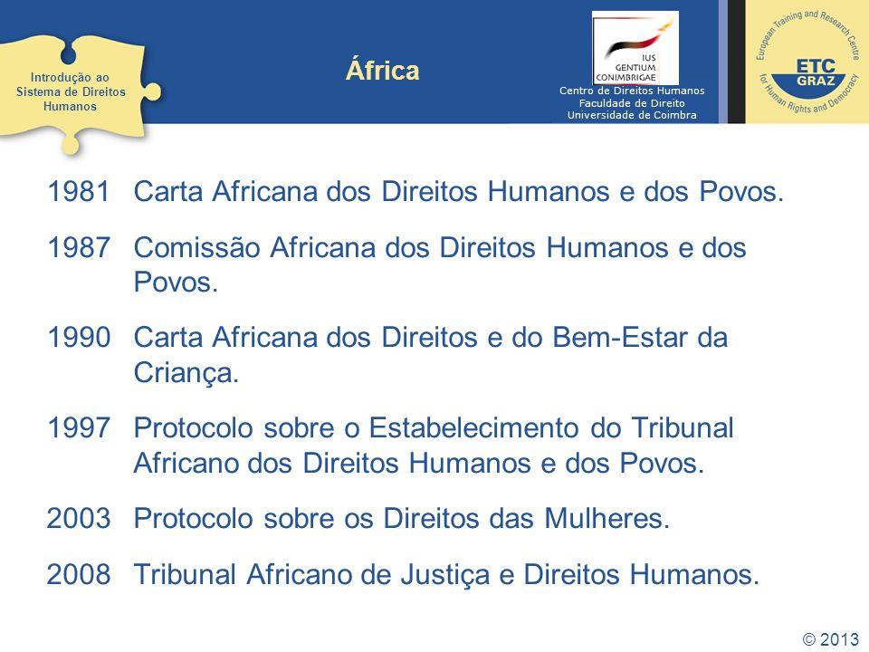 © 2013 África 1981 Carta Africana dos Direitos Humanos e dos Povos. 1987 Comissão Africana dos Direitos Humanos e dos Povos. 1990 Carta Africana dos D
