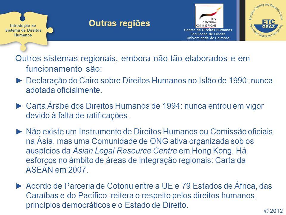 © 2012 Outras regiões Outros sistemas regionais, embora não tão elaborados e em funcionamento são: Declaração do Cairo sobre Direitos Humanos no Islão