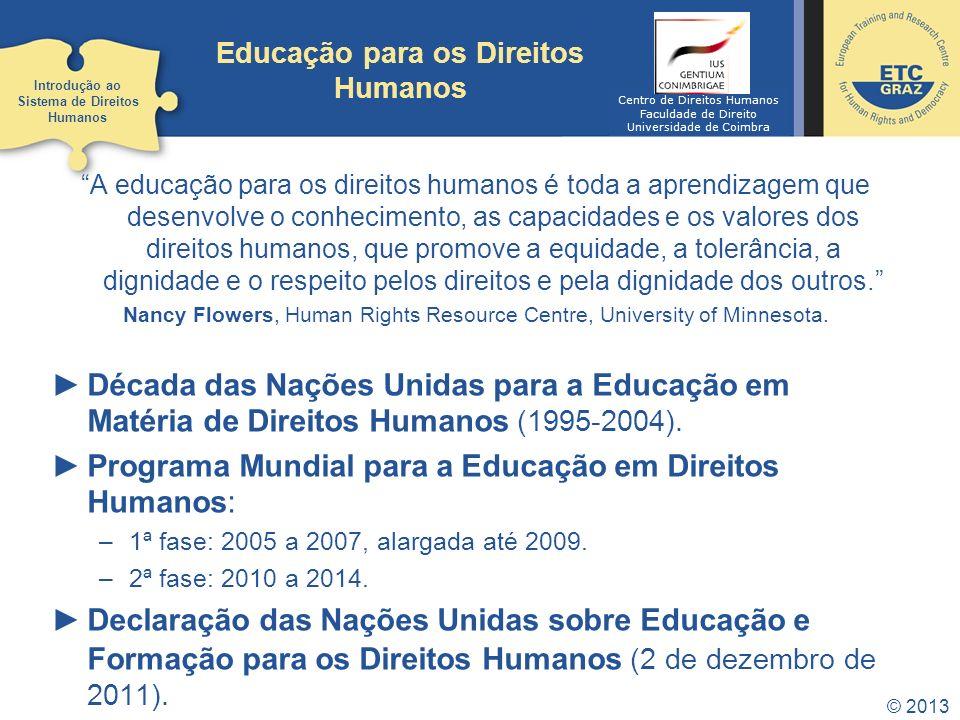 © 2013 Educação para os Direitos Humanos A educação para os direitos humanos é toda a aprendizagem que desenvolve o conhecimento, as capacidades e os