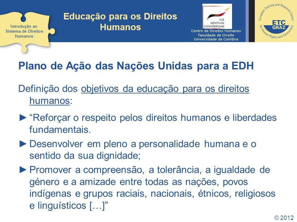 © 2012 Educação para os Direitos Humanos Plano de Ação das Nações Unidas para a EDH Definição dos objetivos da educação para os direitos humanos: Refo