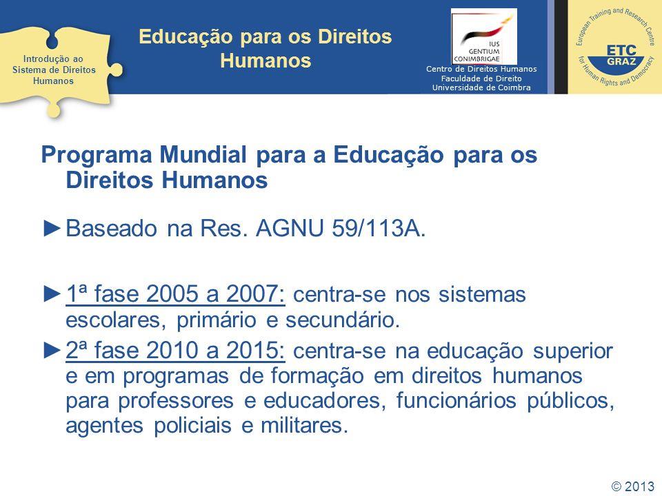 © 2013 Educação para os Direitos Humanos Programa Mundial para a Educação para os Direitos Humanos Baseado na Res. AGNU 59/113A. 1ª fase 2005 a 2007:
