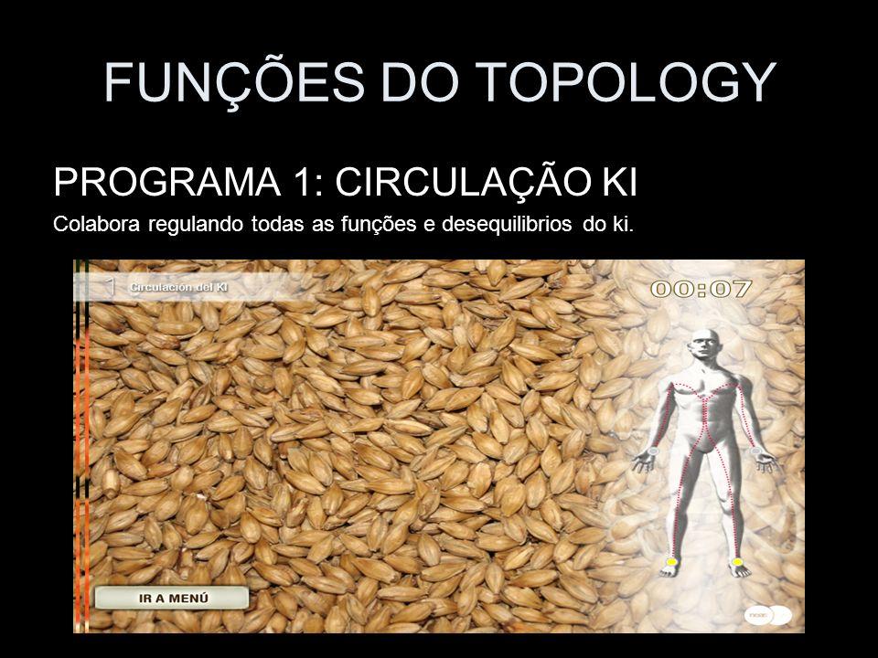 FUNÇÕES DO TOPOLOGY PROGRAMA 1: CIRCULAÇÃO KI Colabora regulando todas as funções e desequilibrios do ki.