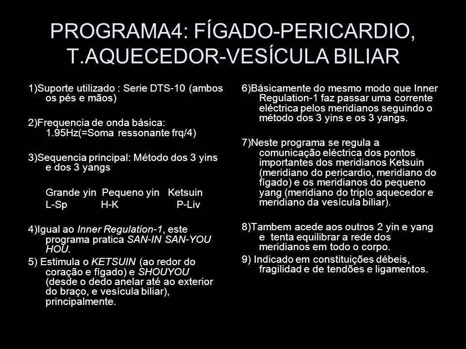 PROGRAMA4: FÍGADO-PERICARDIO, T.AQUECEDOR-VESÍCULA BILIAR 1)Suporte utilizado : Serie DTS-10 (ambos os pés e mãos) 2)Frequencia de onda básica: 1.95Hz