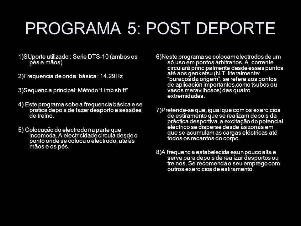 PROGRAMA 5: POST DEPORTE 1)SUporte utilizado : Serie DTS-10 (ambos os pés e mãos) 2)Frequencia de onda básica : 14.29Hz 3)Sequencia principal: Método