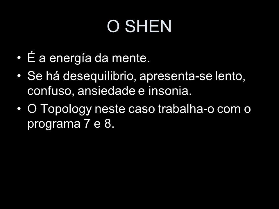 O SHEN É a energía da mente. Se há desequilibrio, apresenta-se lento, confuso, ansiedade e insonia. O Topology neste caso trabalha-o com o programa 7