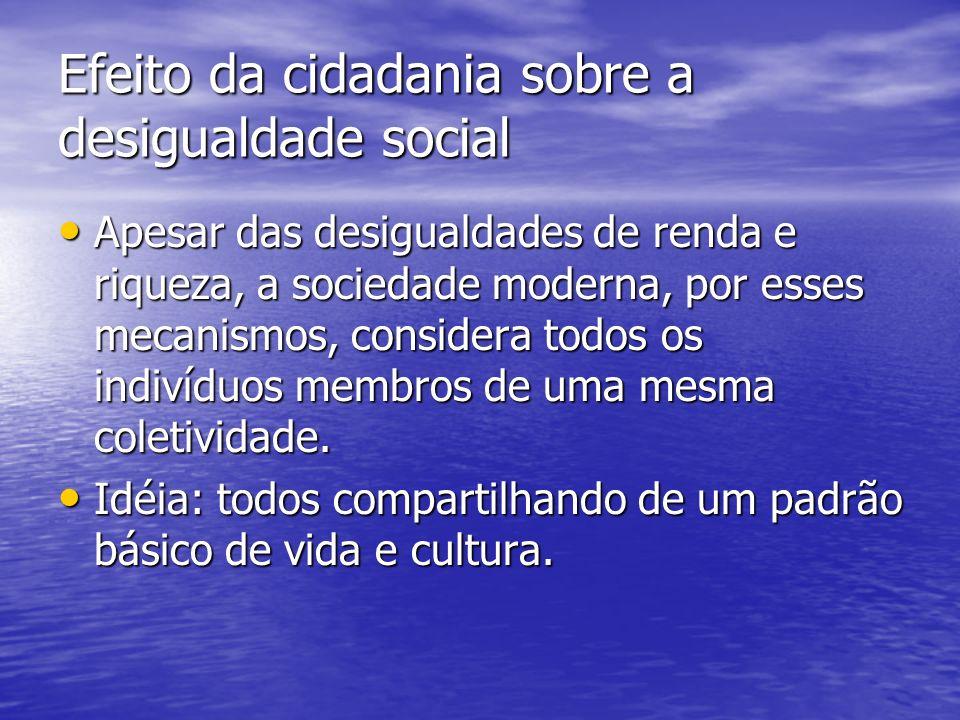 Efeito da cidadania sobre a desigualdade social Apesar das desigualdades de renda e riqueza, a sociedade moderna, por esses mecanismos, considera todos os indivíduos membros de uma mesma coletividade.