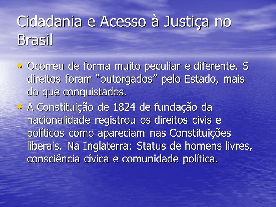 Cidadania e Acesso à Justiça no Brasil Ocorreu de forma muito peculiar e diferente.