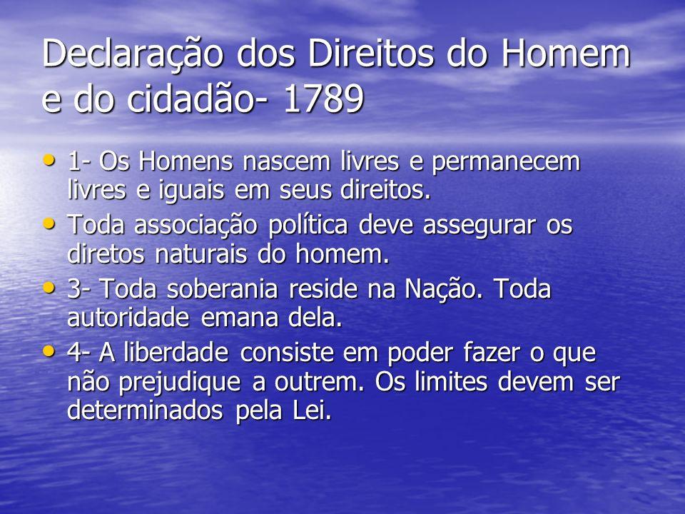 Declaração dos Direitos do Homem e do cidadão- 1789 1- Os Homens nascem livres e permanecem livres e iguais em seus direitos.