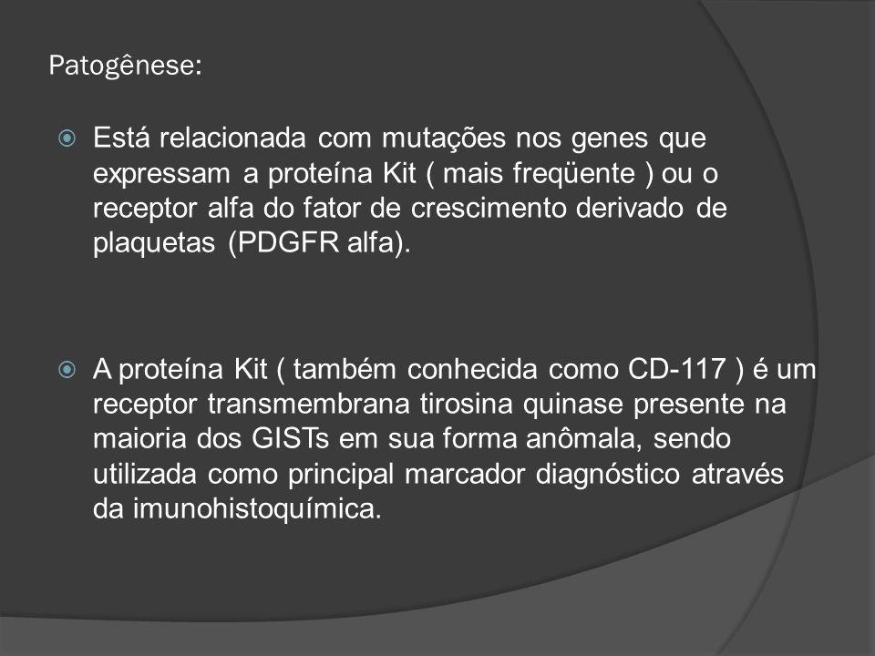 Patogênese: Está relacionada com mutações nos genes que expressam a proteína Kit ( mais freqüente ) ou o receptor alfa do fator de crescimento derivad