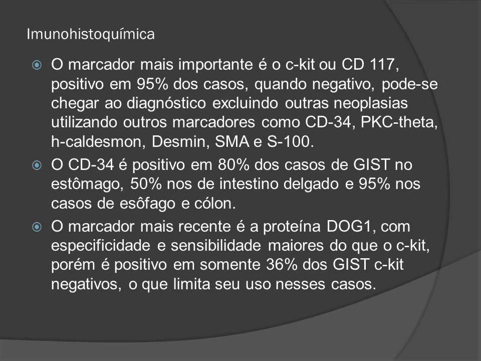 Imunohistoquímica O marcador mais importante é o c-kit ou CD 117, positivo em 95% dos casos, quando negativo, pode-se chegar ao diagnóstico excluindo