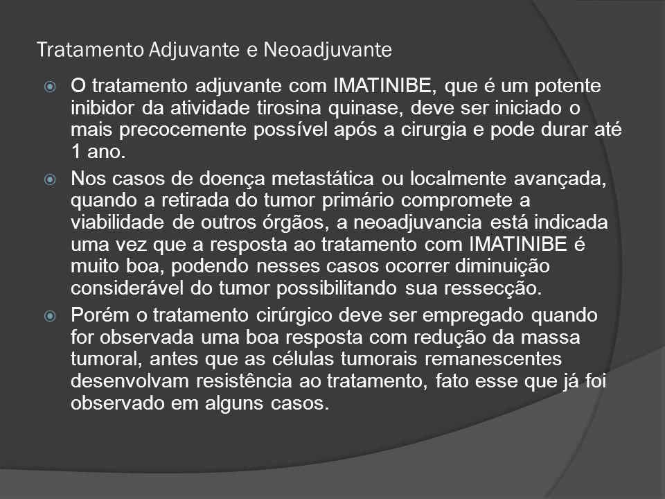 Tratamento Adjuvante e Neoadjuvante O tratamento adjuvante com IMATINIBE, que é um potente inibidor da atividade tirosina quinase, deve ser iniciado o