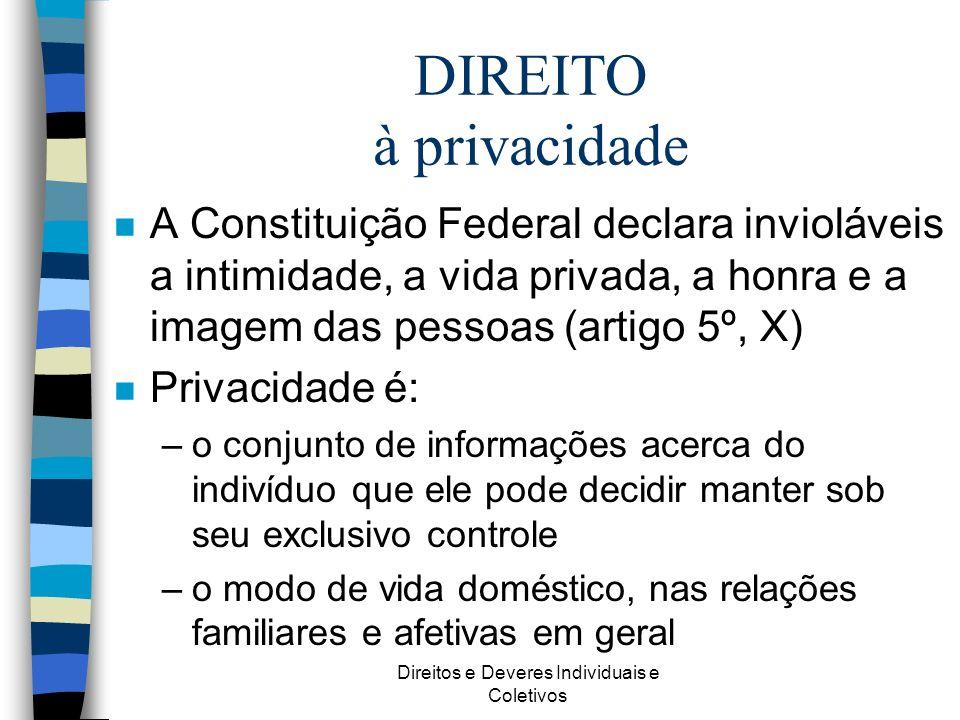 Direitos e Deveres Individuais e Coletivos DIREITO à privacidade n A Constituição Federal declara invioláveis a intimidade, a vida privada, a honra e