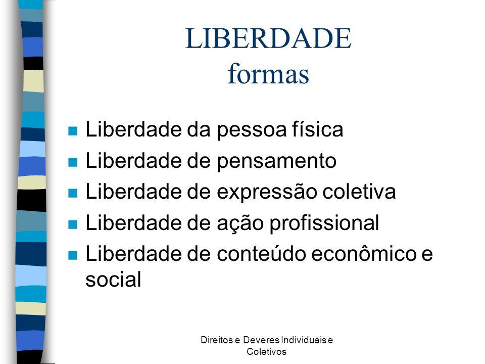 Direitos e Deveres Individuais e Coletivos LIBERDADE formas n Liberdade da pessoa física n Liberdade de pensamento n Liberdade de expressão coletiva n