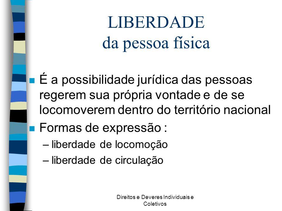 Direitos e Deveres Individuais e Coletivos LIBERDADE da pessoa física n É a possibilidade jurídica das pessoas regerem sua própria vontade e de se loc