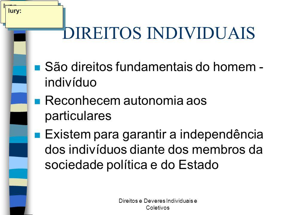 Direitos e Deveres Individuais e Coletivos DIREITOS INDIVIDUAIS n São direitos fundamentais do homem - indivíduo n Reconhecem autonomia aos particular