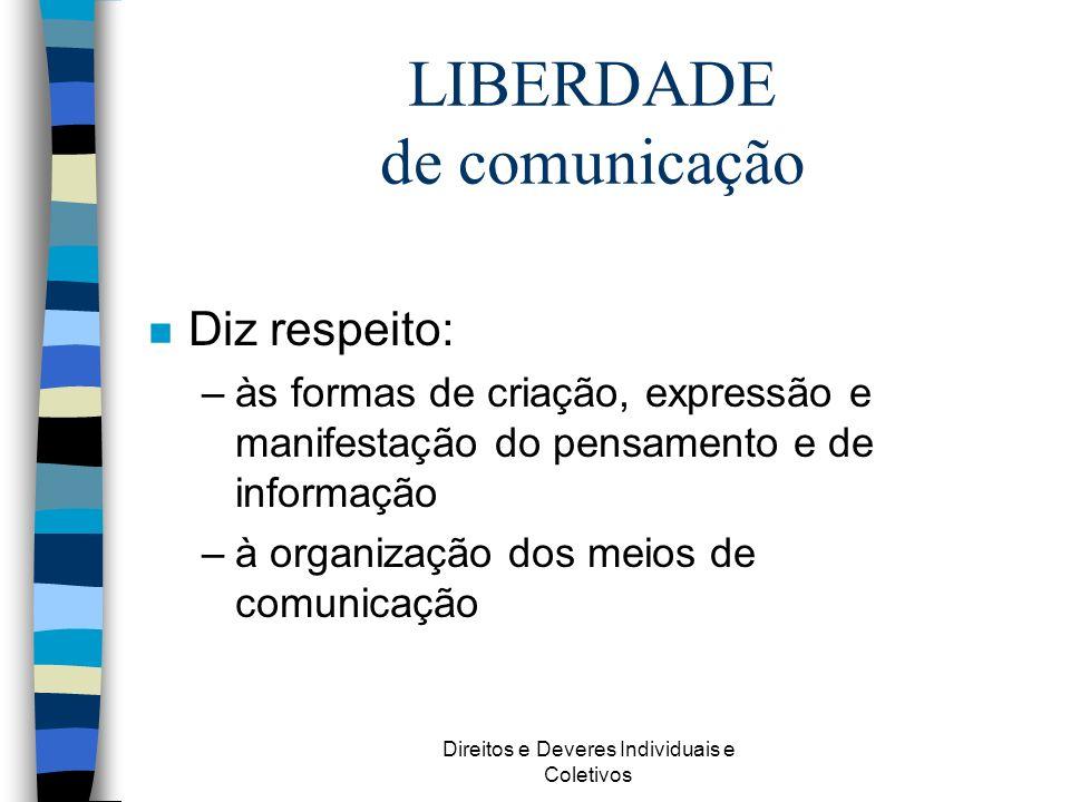 Direitos e Deveres Individuais e Coletivos LIBERDADE de comunicação n Diz respeito: –às formas de criação, expressão e manifestação do pensamento e de