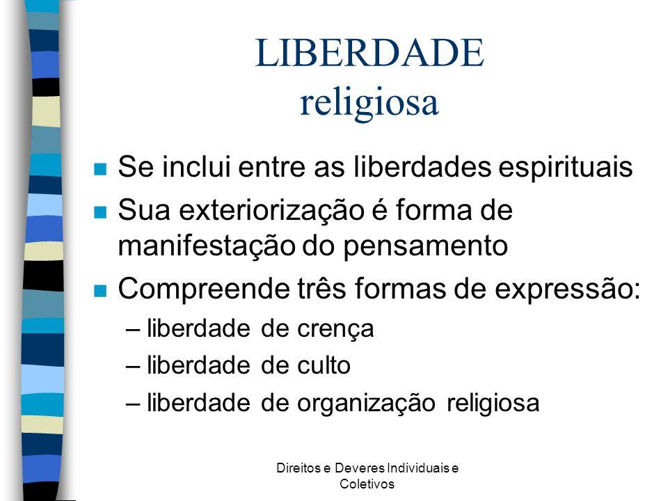 Direitos e Deveres Individuais e Coletivos LIBERDADE religiosa n Se inclui entre as liberdades espirituais n Sua exteriorização é forma de manifestaçã