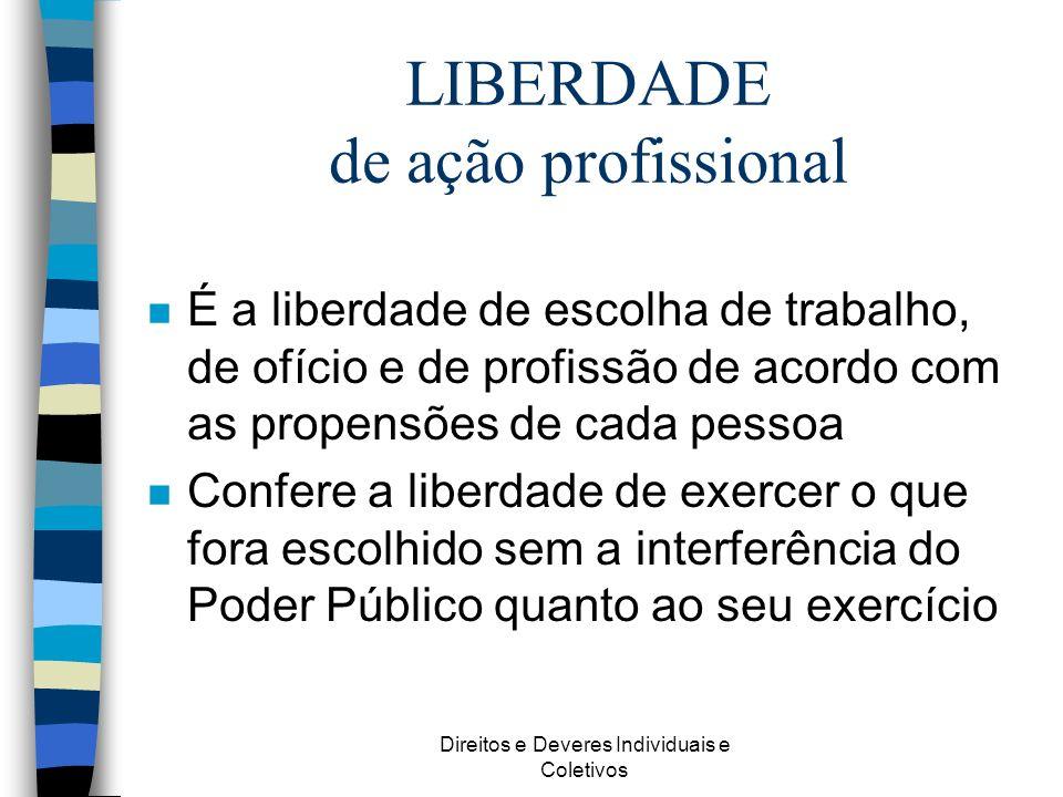 Direitos e Deveres Individuais e Coletivos LIBERDADE de ação profissional n É a liberdade de escolha de trabalho, de ofício e de profissão de acordo c