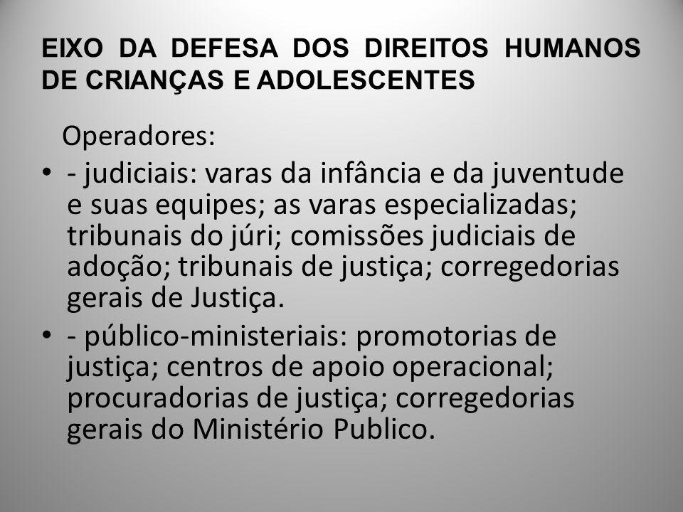 EIXO DA DEFESA DOS DIREITOS HUMANOS DE CRIANÇAS E ADOLESCENTES - defensorias públicas, serviços de assessoramento jurídico e de assistência judiciária.