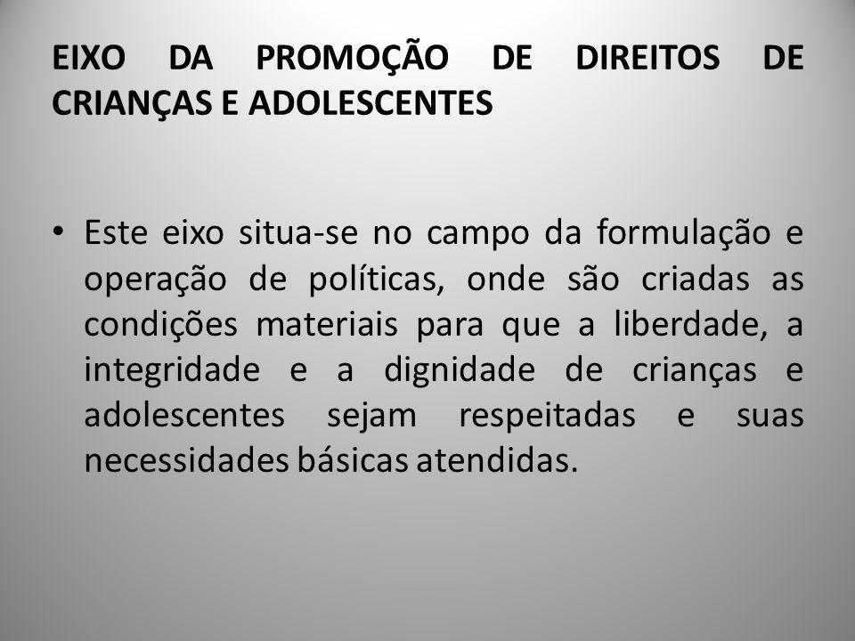 EIXO DA PROMOÇÃO DE DIREITOS DE CRIANÇAS E ADOLESCENTES A consolidação do eixo da promoção dos direitos se dá através do desenvolvimento de uma política de atendimento de crianças e de adolescentes, que integra o âmbito maior da política de promoção e de proteção dos direitos humanos.