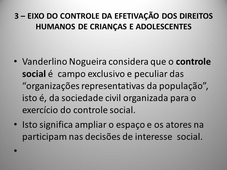 3 – EIXO DO CONTROLE DA EFETIVAÇÃO DOS DIREITOS É operado através de instâncias não-institucionais de articulação (fóruns, frentes, pactos, etc.) e de alianças entre organizações sociais.