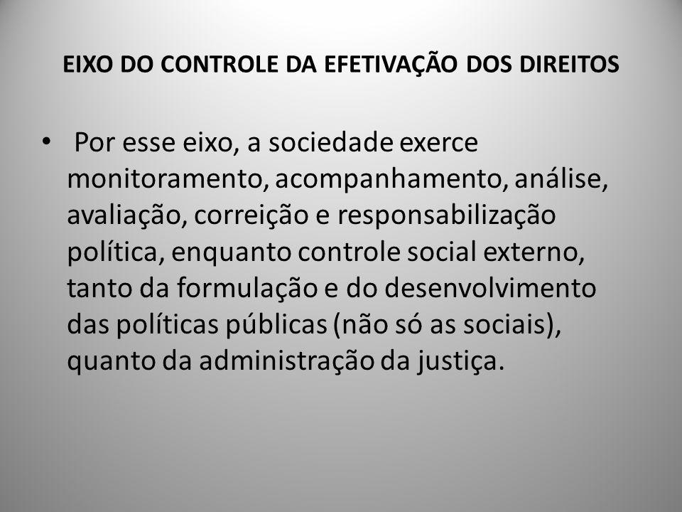 EIXO DO CONTROLE DA EFETIVAÇÃO DOS DIREITOS RecomendaçõesSão elementos primordiais para o exercício do controle social pela sociedade civil organizada: - a qualificação de sua demanda; - o crescimento de seu nível de competência; - a formação de quadros para essas tarefas.