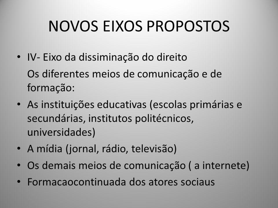 IV- Eixo da dissiminação do direito As instituições que têm a possibilidade de disseminar direitos fazendo chegar a diferentes espaços da sociedade o conhecimento e a discussão sobre os mesmos.