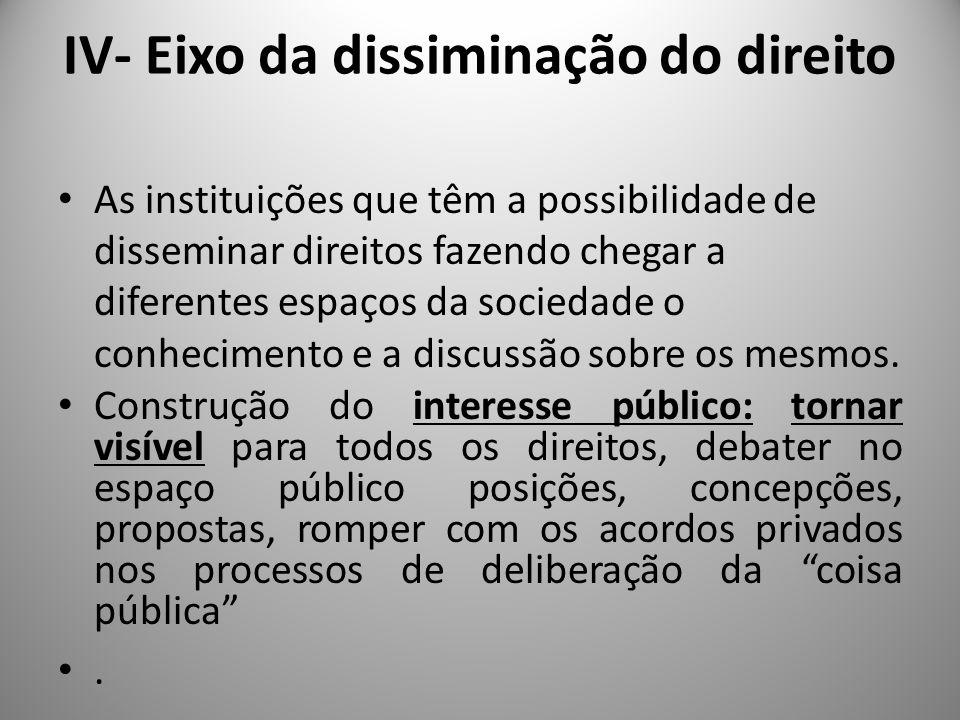 IV- Eixo da dissiminação do direito As unidades de ensino e formação são espaços de circulação e estruturação de significado, portanto, são terreno sólido para forjar representações e práticas garantidoras dos direitos humanos.