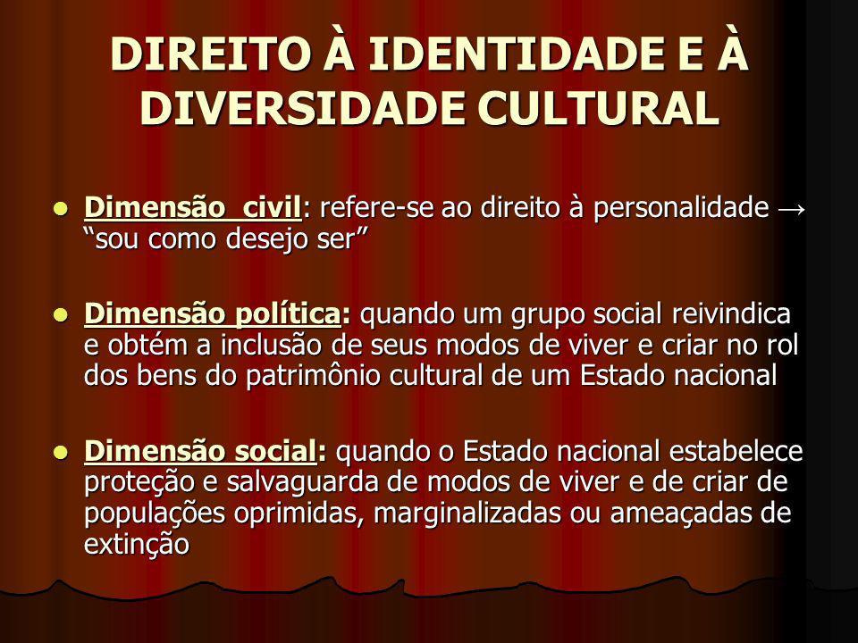 DIREITO À IDENTIDADE E À DIVERSIDADE CULTURAL Dimensão civil: refere-se ao direito à personalidade sou como desejo ser Dimensão civil: refere-se ao di
