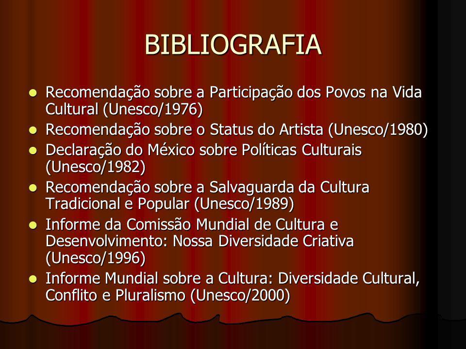 BIBLIOGRAFIA Recomendação sobre a Participação dos Povos na Vida Cultural (Unesco/1976) Recomendação sobre a Participação dos Povos na Vida Cultural (