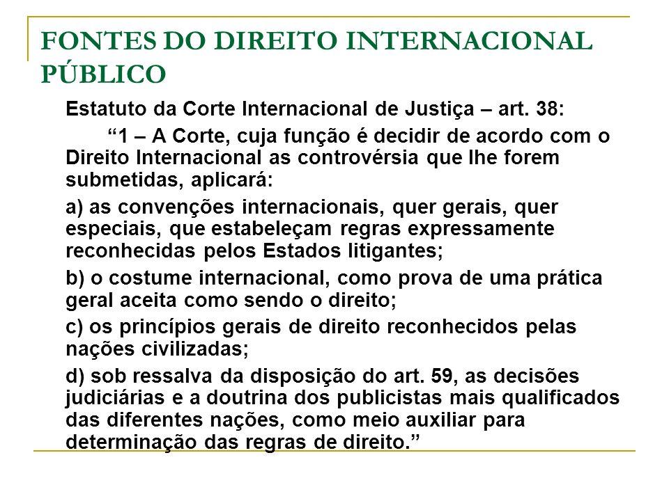 FONTES DO DIREITO INTERNACIONAL PÚBLICO Estatuto da Corte Internacional de Justiça – art. 38: 1 – A Corte, cuja função é decidir de acordo com o Direi