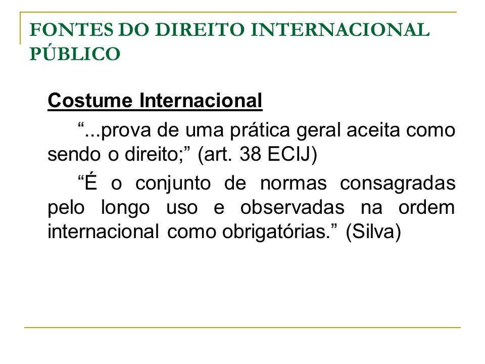 FONTES DO DIREITO INTERNACIONAL PÚBLICO Costume Internacional...prova de uma prática geral aceita como sendo o direito; (art. 38 ECIJ) É o conjunto de